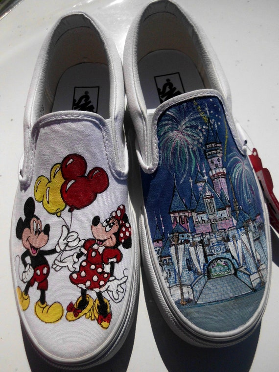 Mickey & Minnie Mouse Disneyland Sleeping Beauty or Cinderella Castle Custom Painted Toms or Vans Canvas Slip On Men Women Child Any Size