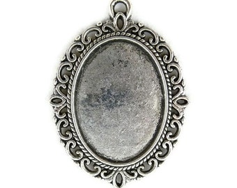 10 pcs Oval Setting Tibetan Silver  Antiqued  - Fits18x25mm Cabochons, Cameos or Stones (18 x 25 mm) - Victorian Style