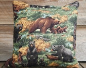 Bear Pillow Cover, Cotton and Burlap Pillow, Cushion Cover, Rustic Furniture, Decor 16x16