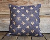 Burlap Pillow of Blue Stars, Cushion, Throw Pillow