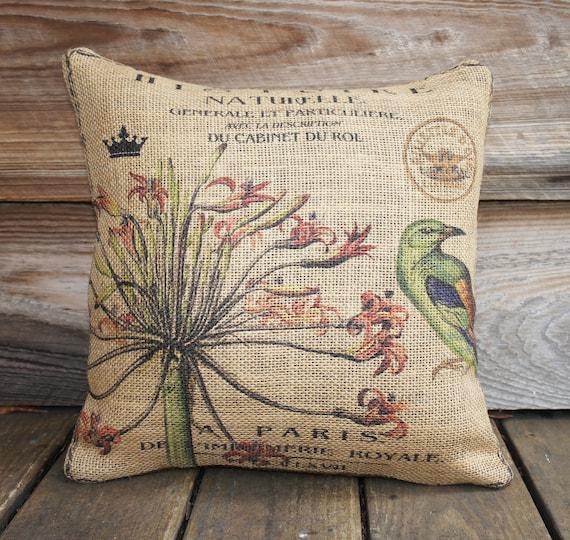 Burlap Чехол зеленых птиц и цветы, мягкая обивка, подушка покрывала, подушки Франция, Paris