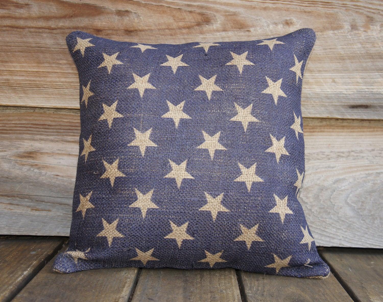 Throw Pillows With Stars : Burlap Pillow of Blue Stars Cushion Throw Pillow
