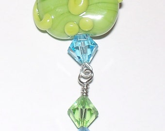 Handmade Green & Blue Elephant Lampwork Pendant with Swarovski Crystals on a Silver Tone Ball Chain