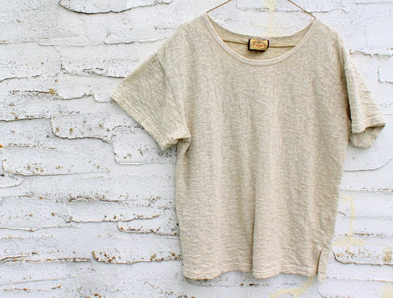 1980s Boxy Lace T-shirt, Off-white, Beige, Short Sleeve (M)