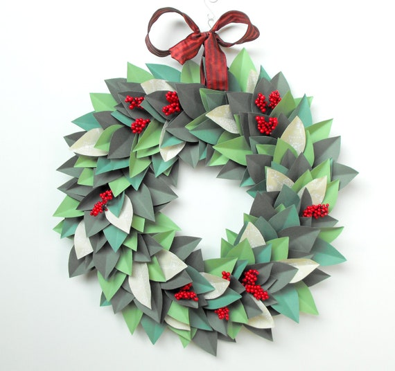 Items similar to HOLIDAY CHRISTMAS WREATH-Paper Leaf Wreath-Modern ...