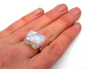 Icy glass adjustable sterling silver ring
