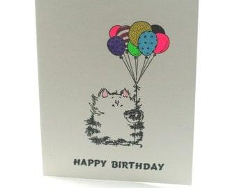Birthday card, cute kitten, birthday balloons, handstamped card, Happy Birthday wishes