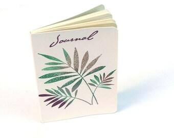 Fern leaves embossed journal, nature theme, white diary, mini note books, altered moleskine, gift ideas