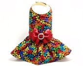 Dog Dress - Flower Print Dress with Red Belt and Bow (size Small)