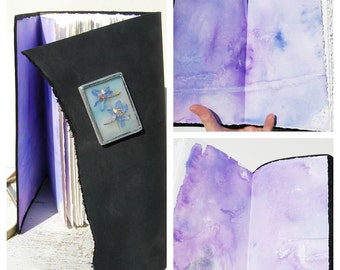 Leather Journal Bound Travel Diary Custom Handmade to Order Watercolor Art Notebook  (068)