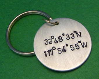 Latitude & Longitude Custom Hand Stamped Aluminum Keychain