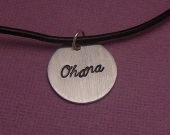 Ohana - A Hand Stamped Aluminum Disc Necklace