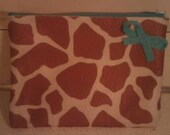 Tiffany Blue and Giraffe Make-Up/Pencil Case with Bow