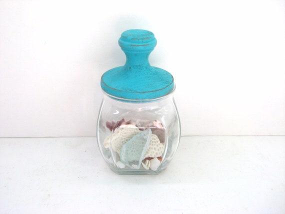 Little Turquoise Jar - Shabby Chic - Unique Kitchen Decor