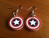 Captain America Shield Shrinky Dink Earrings