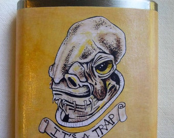 Star Wars, Groomsman Gift, Father's Day Gift, Flask, Wedding Party Gift, Star Wars Art, Admiral Ackbar warning the groom