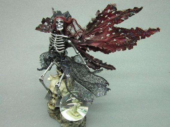OOAK dead Fairy Goth art doll miniature skeleton SKULL snow globe leaf wings graveyard toumbstone queen