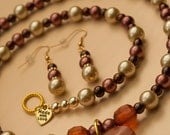 Golden Cream & Chocolate Pearl Beaded Necklace with Heart Pendant
