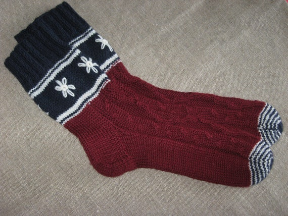 Hand knit burgundy socks with white embroidered  flowers