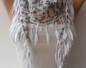 Mother's Day - White and Flowered Scarf with White Trim Edge - Summer Colors - New