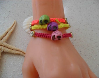 Skull Bracelet - Macrame - Summer Style - Beach - Summer - Friendship Bracelet