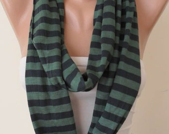 Mother's Day - Green Striped Infinty - Circle -  Loop Scarf - Combed Cotton Fabric