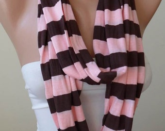 Striped Infinity Scarf - Mother's Day -Salmon Pink and Brown Striped Infinty - Circle -  Loop Scarf - Combed Cotton Fabric