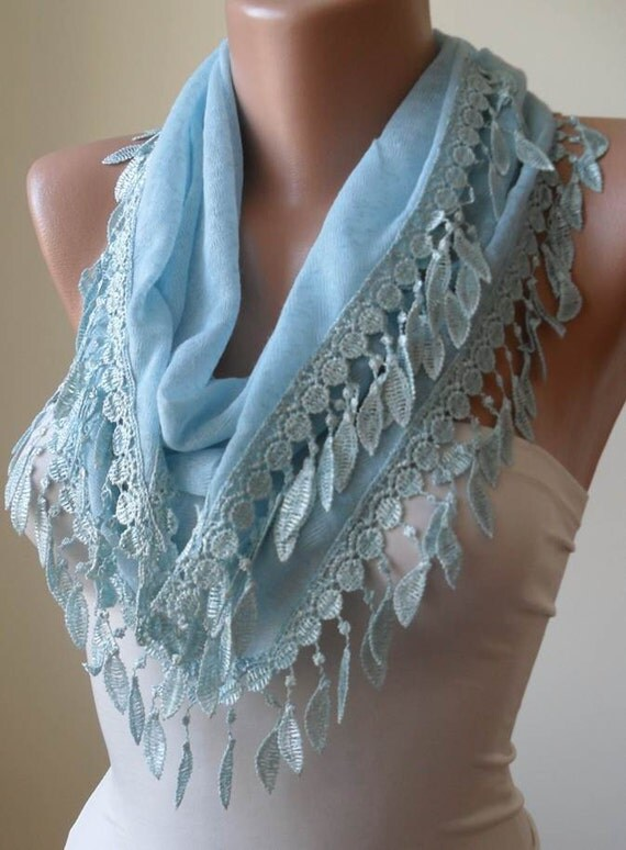 Mother's Day - Light Blue Scarf with Trim Edge