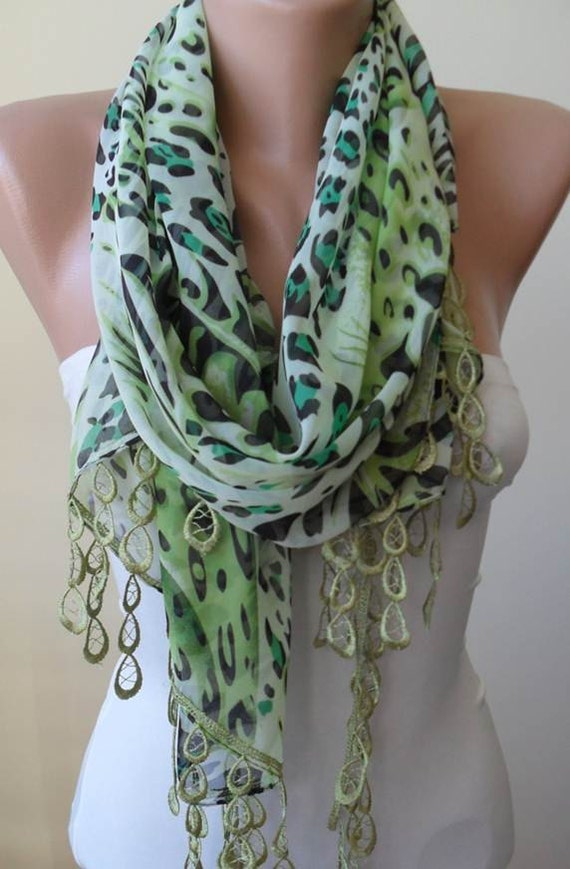 Mother's Day - Green - Silk/Chiffon Scarf with Green Trim Edge - Leopard Print