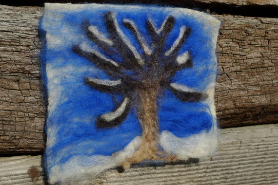 Winter tree picture - needle felted.