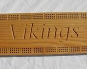 Minnesota Viking Cribbage Board made from White Ash