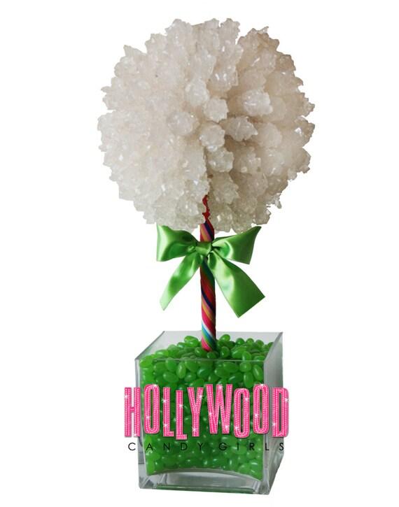 Green rock candy centerpiece topiary tree buffet decor