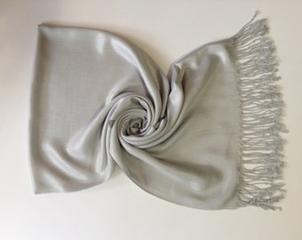 Light Gray Pashmina, Pashmina, Scarf, Shawl, Wrap, Fashion Scarves, Grey Pashmina Scarf, Bridesmaid shawls