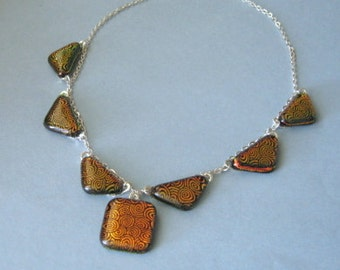 Fused glass necklace - geometric - fiery bold copper dichroic