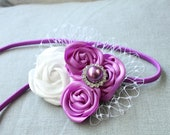 Purple and White Satin rosette headband with millinery lace accent