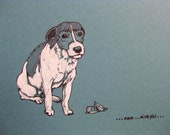 Hand finished Jack Russell Terrier dog christmas card '...hmm....mince pies....' on 100% recycled card