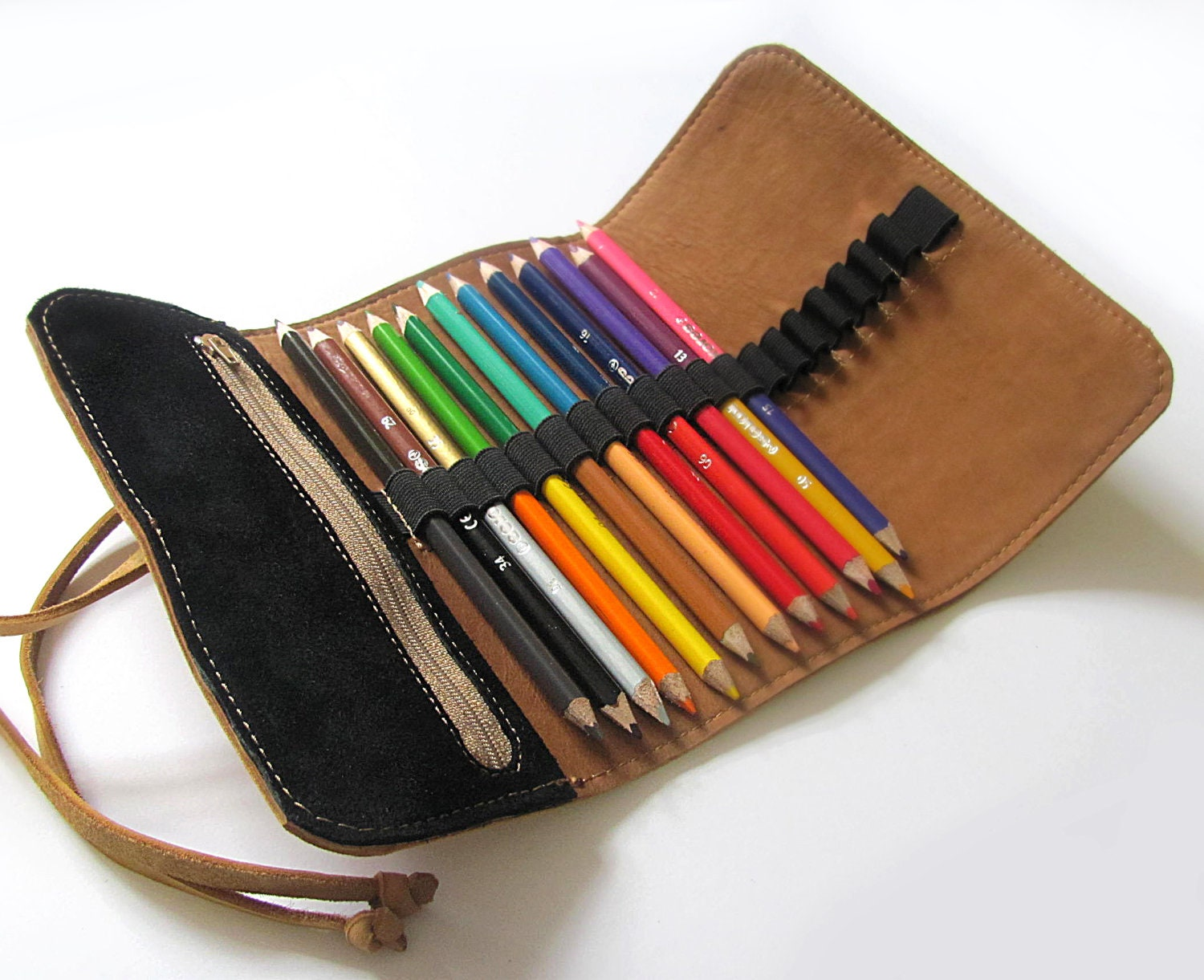 Leather Pencil Case Personalized Pencil Holder Roll Up