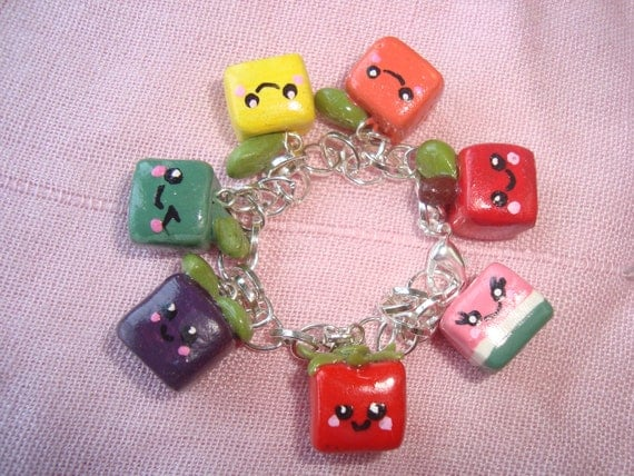 Polymer Clay Fruit Cube Charms Bracelet