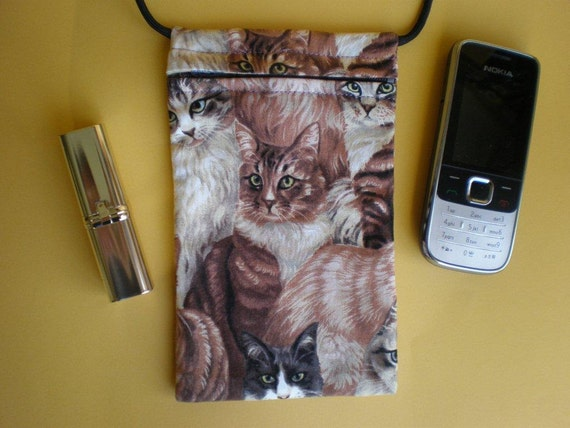 Pouch Bag  - CAT Fabric - great for walkers, markets, travel. Zip bag. Phone Pouch.