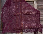 Hand knit shawl in burgundy color lace merino wool gift for her