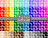 Tinted Houndstooth Papers with Matching Solids, Mega Pack of 80 Digital Scrapbooking Papers, BUY 2 GET 1 FREE (117)