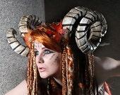RESERVED Horned headdress,  Leather leaves, Horns, fairy, fae, faun, head dress, sca, larp, lrp, cosplay,  costume, Faery, devil