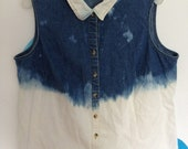Denim Shirt-Vest with Bleached Bottom and Collar