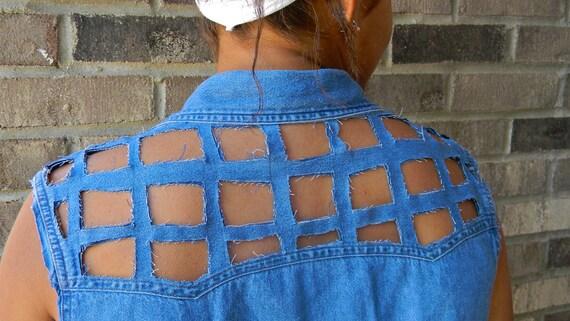 Denim Shirt-Vest with Square Cut Outs