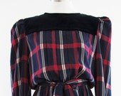 SALE Renzo Vintage Plaid Print Silk