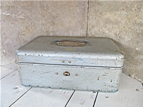 Industrial Metal Cash Box / Rustic Silver Blue Storage Container / Dept 22 / Storage Solution / epsteam