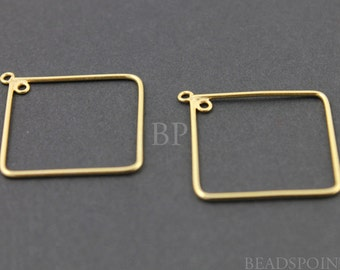 24K Gold Vermeil Over  Sterling Silver Diamond Shape 19mm Hoop Chandelier Finding w/ Inside Ring,  for Earrings, 1 PAIR (VM/705/19)