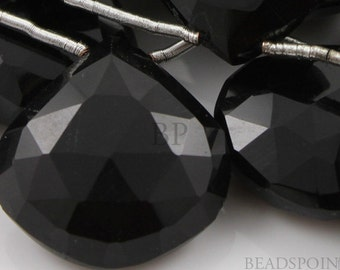 Natural ''NO TREATMENT'' Black Onyx Faceted Heart Drops, Jet Black AAA Quality Gemstones 13x13 - 14x14mm, 4 Pieces, (4X13x13 - 14x14mm)