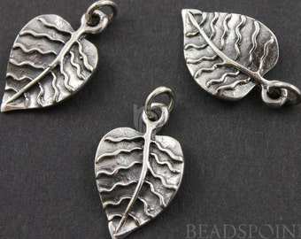 Sterling Silver Betel Leaf Charm / Pendant w/ Closed Jump Ring, Fancy Jewelry Component Finding. (SS/CH4/CR32)