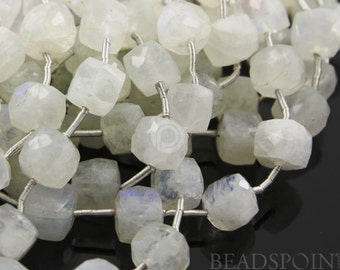 Natural '' NO TREATMENT'' Rainbow Moonstone Faceted Cubes, Blue Flash Gemstones 7 to 8mm, 1 Strand (MNS7-8CUBE)